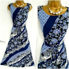 MONSOON size 16 blue floral stretch tie front maxi dress summer holiday casual P