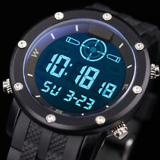 INFANTRY Mens LED Digital Wrist Watch Chronograph Military Sport Black Silicone