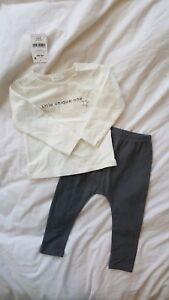 NEXT Baby Grey 2 Piece set LS shirt leggings 12-18 baby infant European UK