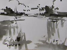 JOSE TRUJILLO Original MODERN ABSTRACT EXPRESSIONIST INK WASH MARSHLAND WETLAND