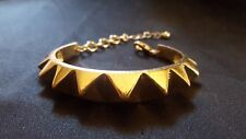 Gold Plated Solid Copper Spiked Cuff Bracelet with Chain and Clasp