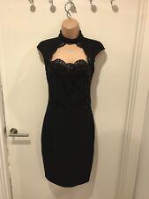 BNWT Lipsy Michelle Keegan Black Chocker Lace Bodycon Dress UK 8 RRP £65