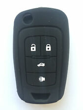 4 Buttons Black Silicone Key Fob Case Key Cover Jacket fit for Chevrolet