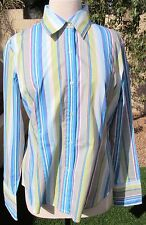 NWOT Ninety Size L Blue Multi Striped Cotton Long Sleeve Shirt Blouse Top