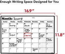 Magnetic Fridge Calendar White Board Dry Erase Planner Monthly Schedule Organize
