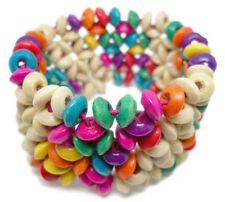 M1014 fashion multi-color wooden bead chain stretch bracelet jewelry