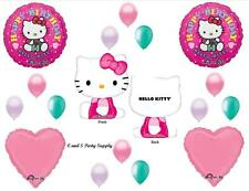 HELLO KITTY HAPPY BIRTHDAY PARTY BALLOONS Decorations Supplies Cat 17 pieces!!