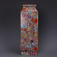 """12"""" Collect Chinese Qing Dynasty Porcelain Famille Rose Ten Thousand Flower Vase"""