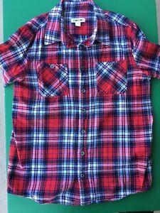 Boys Red Plaid Long Sleeve Shirt - Sz L 12/14 - EUC