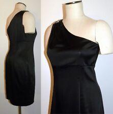 Calvin Klein Black One Shoulder COCKTAIL Dress Rhinestone Stretch Satin Size 8