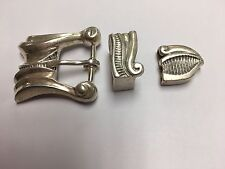 Heavy Sterling Silver Belt Buckle Set Billy Martin Lizard Belt