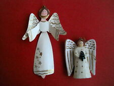 2 Whlte & Gold Angel Ornaments