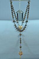Rare antique 1858 large pilgrimage Rosary Our Lady of Lourdes boxwood beads