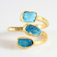 Handmade Hammered Tria Rough Neon Apatite Ring 24K Gold Over 925 Sterling Silver