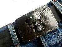 Totenkopf Gürtelschnalle Skull Schädel Rockstar Biker schwarz grau 4 cm