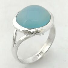925 Sterling Silver Blue Chalcedony Fashion Statement Ring - ANY SIZE