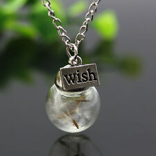 Real Dandelion Lucky Charms Wishing Fairy Bottle Pendant Silver Necklace GIft