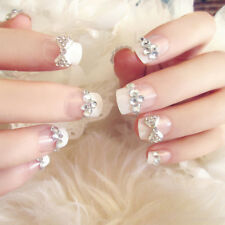 24pcs Bride Wedding 3D Fake False Artificial Nails Tips French Bow Finger RWZY