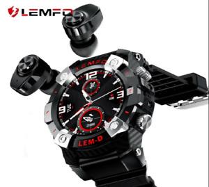 LEMFO LEMD Smart Watch Men With Bluetooth Wireless Earphones HD Screen 2 in 1