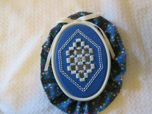 Hardanger Royal Blue in a Hoop  Norwegian Embroidery Cut Work