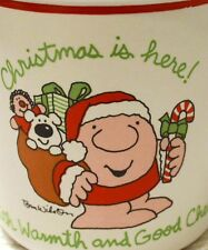 "One of 4 - Vintage Ziggy Mug "" Christmas is Here With Warmth and Good Cheer"""