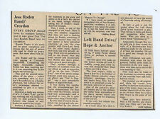JESS RODEN / LEFT HAND DRIVER press clipping (15/2/75) 13X18cm