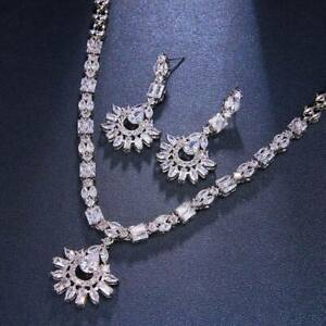 Bridal crystal necklace and earrings