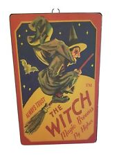 """Halloween Metal Tin Sign """"Always Trust The Witch Magic Brooms"""" Antique Ad NEW"""