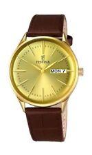 Relojes de pulsera de acero inoxidable dorado de cuero resistente al agua