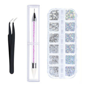Crystals Nail Art Rhinestones and Clear Crystal Rhinestones with Pick Up Tweezer