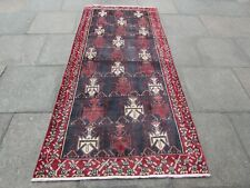 Vintage Old Traditional Hand Made Oriental Blue Red Wool Long Rug 248x113cm