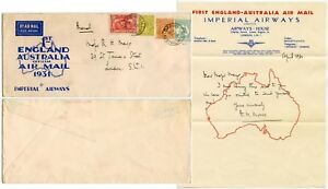 IMPERIAL AIRWAYS 1931 FIRST AIRMAIL + Signed Letter Major Mayo AUSTRALIA