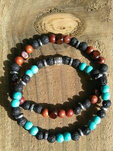Mens/Ladies TWO! Gemstone Bracelets Turquoise Natural Lava Rock Friendship
