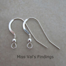 10 sterling silver 925 ear wires 22g ball coil 18mm flat fishook earring