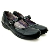 Dansko Mary Jane Wedge Loafer Size 41 Black Leather 10.5 US Buckle Strap