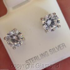 Stud Earrings Round Brilliant Cut 950 Platinum Over Solid Sterling Silver 6mm