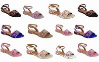 Women's New Latest Easy Slip On Style Embroidered Peep Toe Flat Sandals Sz 6-10