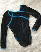 New GK ELITE Leotard GYMNASTICS Dance COMPETITION Black AQUA Blue Bodysuit Sz AS