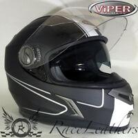 VIPER rsv9 Velocidad Negro Mate Moto Scooter Casco cubre toda la cara