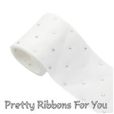 "3"" WHITE Rhinestones grosgrain ribbon ONE yard listing"