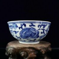 Chinese old  porcelain Blue and white with flower pattern Chinese meal bowl