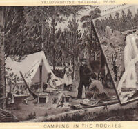 Yellowstone 1890's Tent Camping in Rockies photo-style Jersey Coffee Trade Card