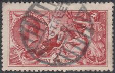 1915 DE LA RUE SEAHORSES SG409 5s BRIGHT CARMINE GOOD/FINE USED SUN STREET E.C.