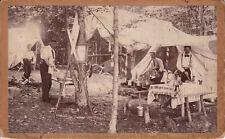 EARLY OUTDOOR FORMAL CAMPING SCENE ~ c. - 1910