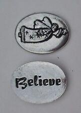 v Believe flying angel spirit HANDCRAFTED PEWTER POCKET TOKEN CHARM basic coin