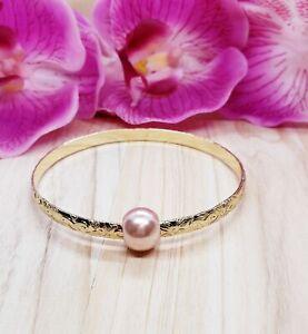 Gold Hawaiian Pink Pearl bangle Bracelet
