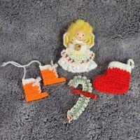 Vintage Handmade Christmas Tree Ornaments Stocking Ice Skates Angel Crocheted