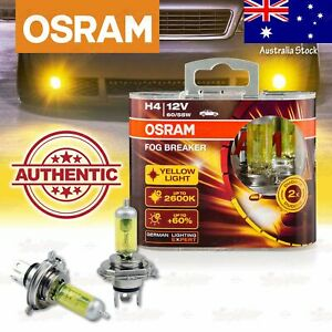2x H4 472 OSRAM Fog Breaker DuoBox YELLOW Spot Bulbs 2600K Lamps for HIGH BEAM
