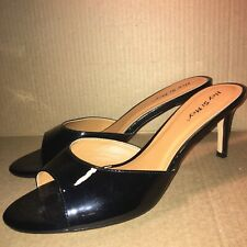 Hey Si Mey Designer Black Patent Open Toe Shoes Heels Pumps Size 10
