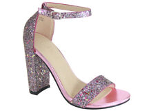 New Womens Glitter Open Toe Ankle Strap Chunky High Heel Dress Pump Sandal Shoes